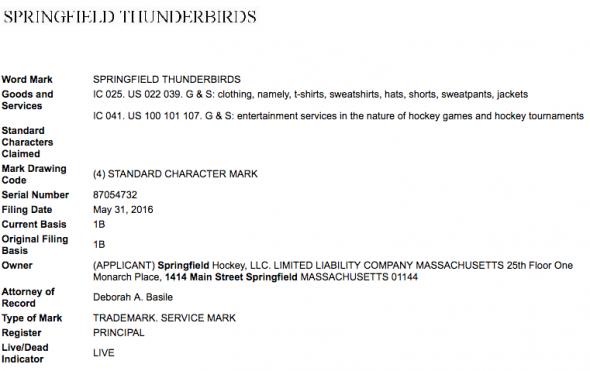 The USPTO trademark registration for Springfield Thunderbirds