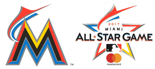 The marlin from Miami's primary logo has been tilted and adjusted to form the top of a star