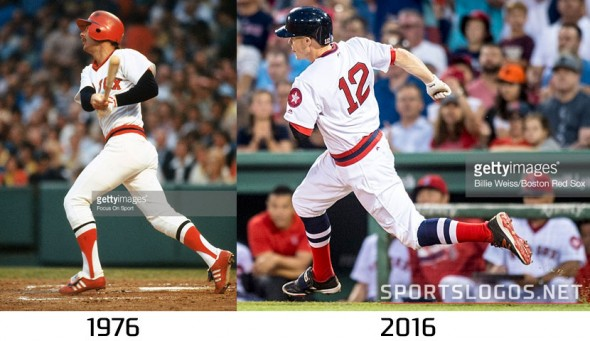Boston Red Sox Throwback Uniform 1975 vs 2016 Compare 2