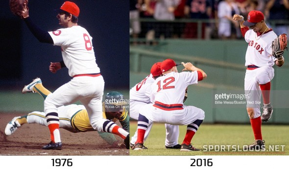 Boston Red Sox Throwback Uniform 1975 vs 2016 Compare 3