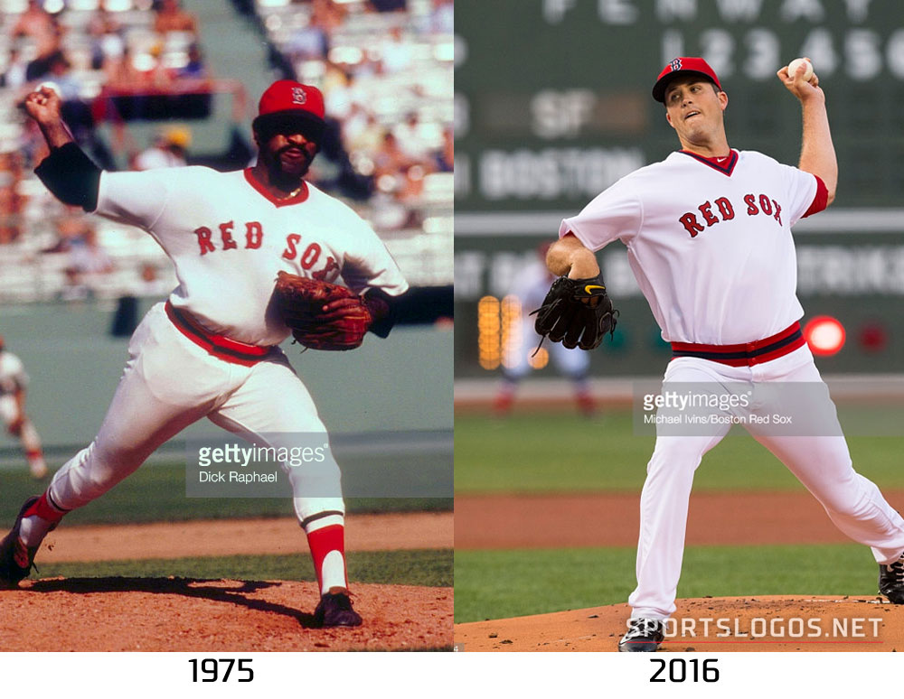 factory authentic 35615 a932a Boston Red Sox Throwback Uniform 1975 vs 2016 Compare ...