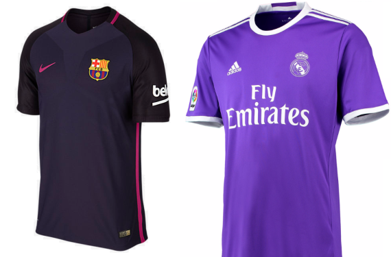 Real Madrid and Barcelona are both wearing purple clash kits this season