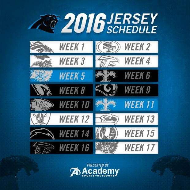 Carolina Panthers Announce 2016 Jersey Schedule, ColorRush Game
