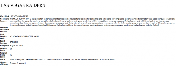 "The trademark filed by Oakland for the ""Las Vegas Raiders"""