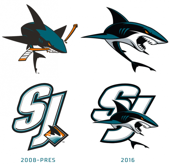 Secondary logos from last season (L), new secondary logos this year (R)