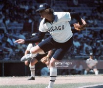 Goose Gossage wearing the White Sox uniforms with blue shorts, August 8, 1976