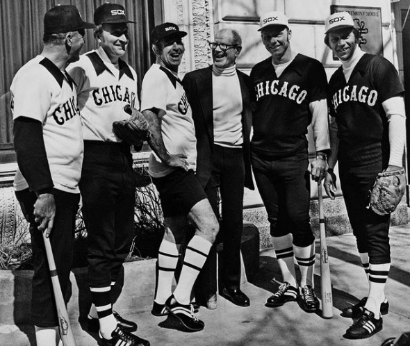 Bill Veeck (centre, not in uniform) with former Sox players, modelling the new uniforms in March 1976