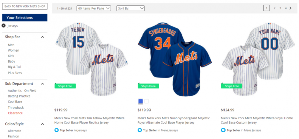 This is a screenshot from the Mets' online store. Yes, that's Tim Tebow's jersey listed as a top seller, already.