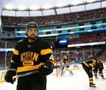 The Bruins in their future alternate jersey at the 2016 Winter Classic earlier this year