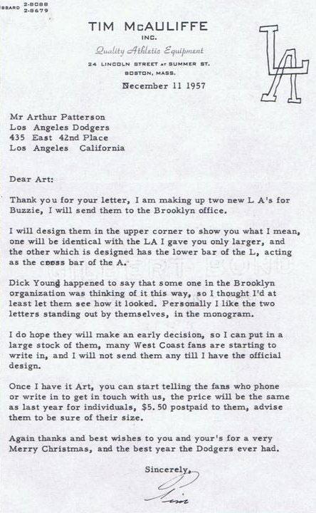 LA Dodgers Letter 1957