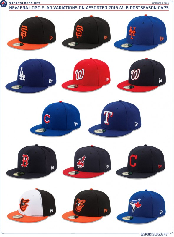 new era flag on mlb caps 2016