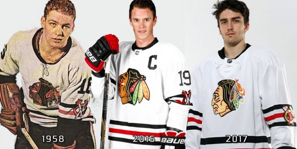 Blackhawks compare winter classic jersey 1958 2015 2017