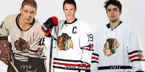 Blackhawks compare winter classic jersey 1958 2015 2017