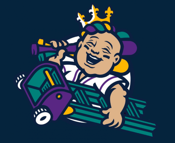 Alternate logo featuring a baby carrying a Mardi Gras ladder