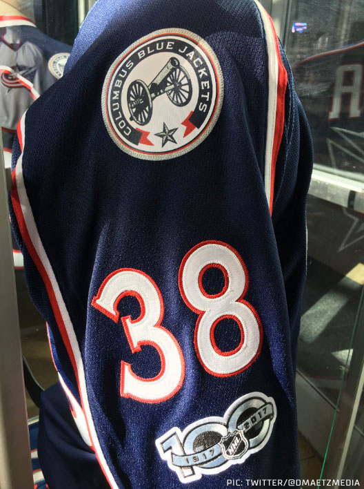 The NHL 100 patch is on the arm *below the number*