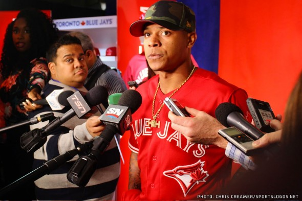 Blue Jays pitcher Marcus Stroman wearing the new red alternate jersey