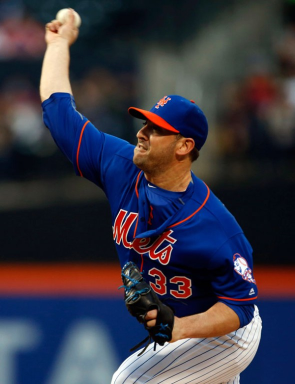 New York Mets starting pitcher Matt Harvey  throws wearing the alternate home uniform at Citi Field on May 19, 2016 (Photo: Noah K. Murray-USA TODAY Sports)