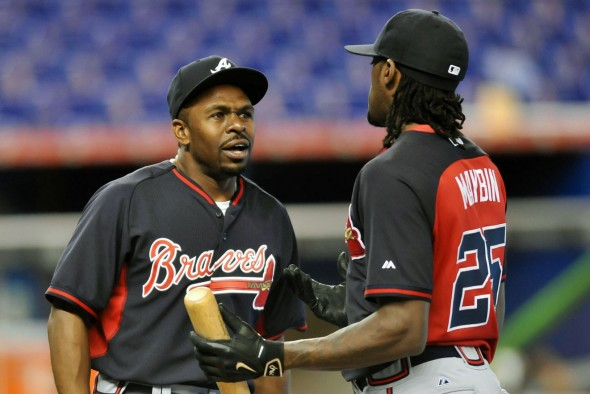 Atlanta players wearing batting practice jerseys before a game in 2015 (Photo: © Steve Mitchell-USA TODAY Sports)