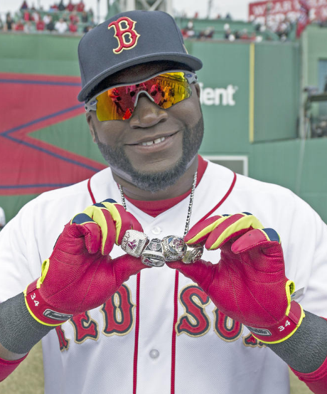 David Ortiz with golden Red Sox jersey in 2014