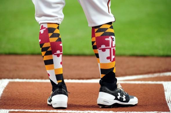 Orioles Maryland Socks Evan Habeeb-USA TODAY Sports
