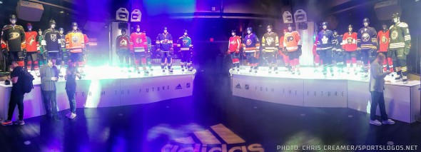The 30 non-expansion clubs have their new Adidas full-uniforms on display at the Wynn in Las Vegas, NV on June 20, 2017 (Photo: Chris Creamer/SportsLogos.Net)