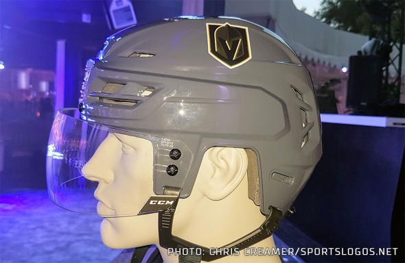 A close-up look at the Vegas Golden Knights grey helmet and decal at the Adidas NHL launch event at the Wynn in Las Vegas, NV on June 20, 2017 (Photo: Chris Creamer/SportsLogos.Net)