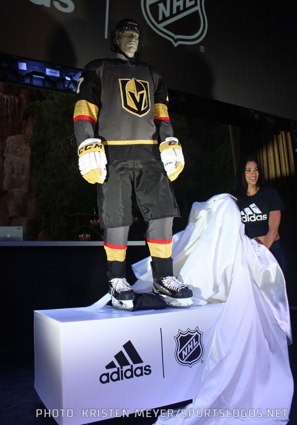 The expansion Vegas Golden Knights unveil their home uniform at the Adidas launch party in Las Vegas, NV June 20, 2017 (Photo: Kristen Meyer/SportsLogos.Net)