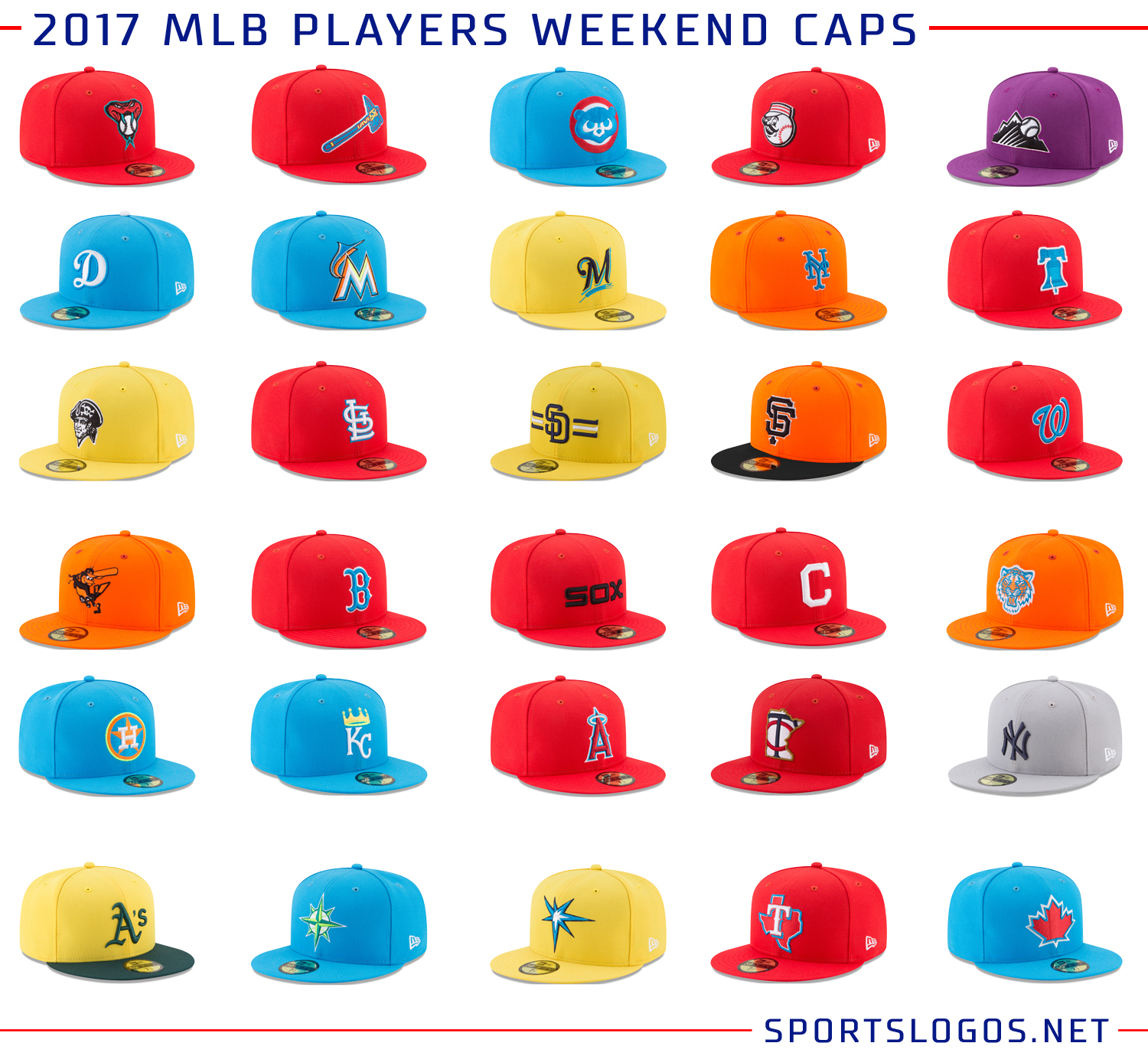 54b65374e7a Alternate logos are a common sight on the Players Weekend ballcaps