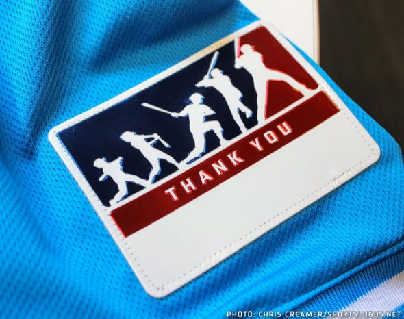 """879310812 Players will be writing the name of someone they wish to thank in the white  space on this sleeve patch. """""""