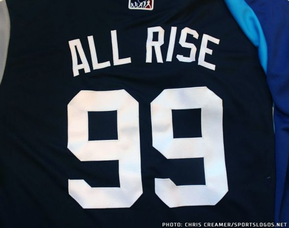 "5c39127e688 Yankees phenom Aaron Judge will wear ""ALL RISE"" on his jersey during Players  Weekend"