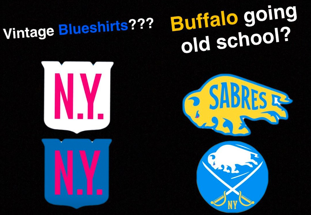 c403a59b7 The Sabres  and Rangers  logos for the Winter Classic have a retro ...