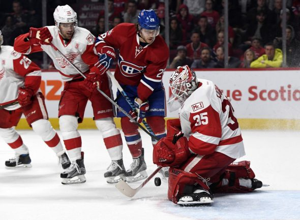 An eye-pleasing matchup: Detroit Red Wings in white vs Montreal Canadiens in red (Photo: © Eric Bolte-USA TODAY Sports)