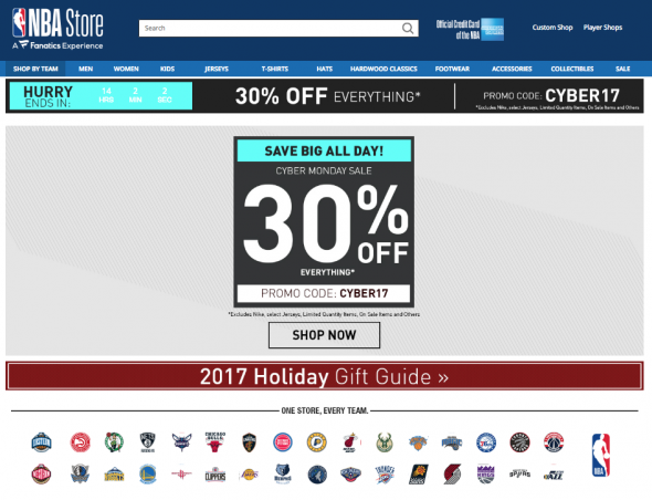 85043b713e9 Like the NHL and MLB the National Basketball Association is offering 30%  off everything today