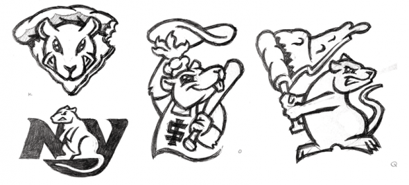 A sampling of some of the earliest sketches for a Staten Island Pizza Rats logo (via Brandiose)
