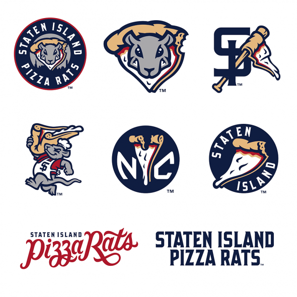 The final, full set of Staten Island Pizza Rats logos (via Brandiose)