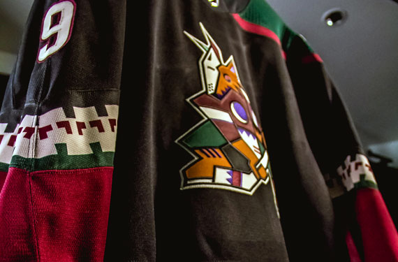 """The Coyotes unveiled their new alternate third uniform on draft night. This  alternate attire is a near-direct copy of the road black """"Kachina"""" jersey  the ... 72baed326"""