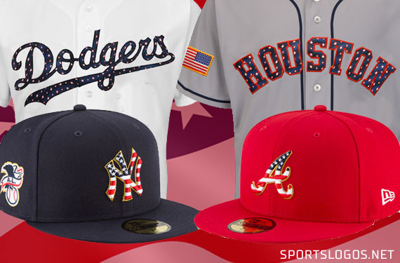 ... all Major League Baseball teams will be wearing commemorative stars and  stripes patterned caps 5a445494549