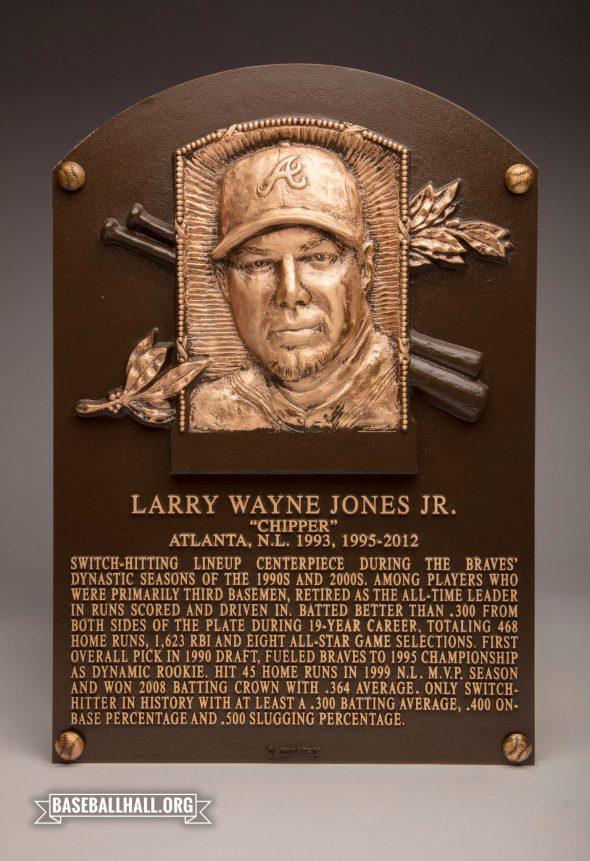 Chipper Jones' Baseball Hall of Fame Plaque (photo Twitter/@BaseballHall)