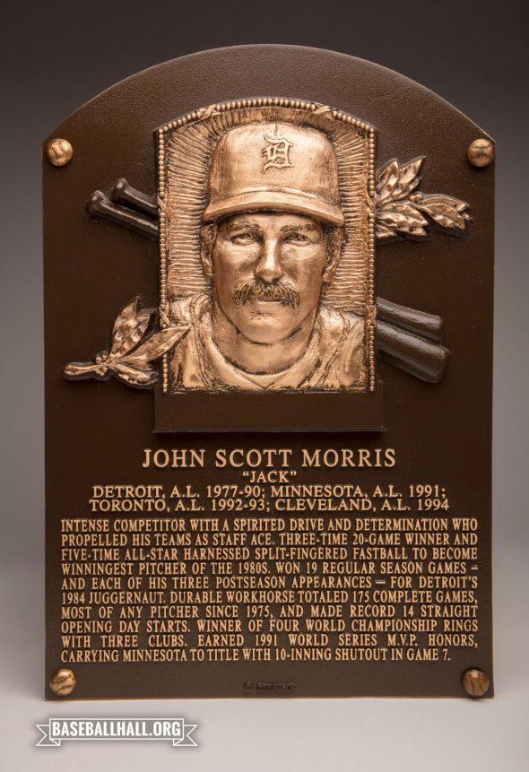 Jack Morris' Baseball Hall of Fame Plaque (photo Twitter/@BaseballHall)