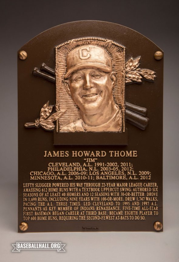 Jim Thome's Baseball Hall of Fame Plaque (photo Twitter/@BaseballHall)