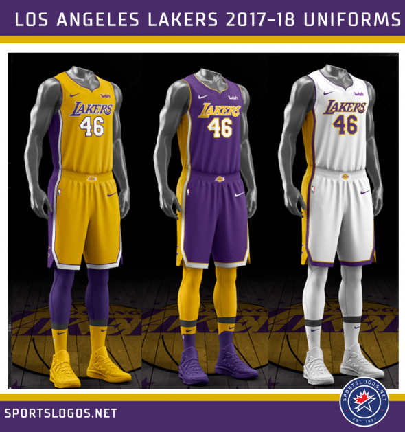 There are several minor differences which add up for an overall cleaner  look for the Lakers here. The drop shadows have been returned to the player  numbers ... f0eb84c37