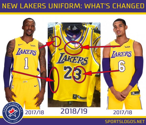 "Comparing Lakers uniform changes. Note the ""Wish"" patch will still be worn on the new uniform"