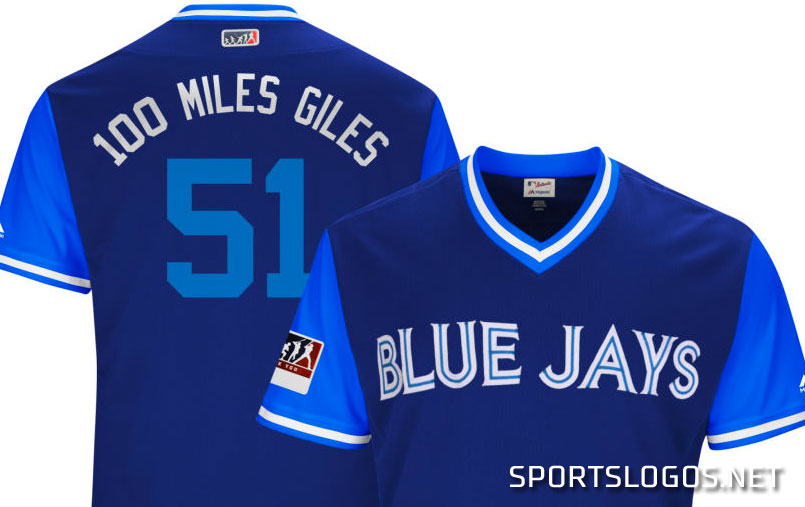 360a9c08502 100 Miles Giles Blue Jays Players Weekend Jersey