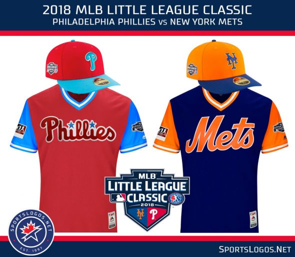 1f075c44d07 The 2018 Little League Classic patch on the Mets and Phillies uniforms  Sunday night. ""