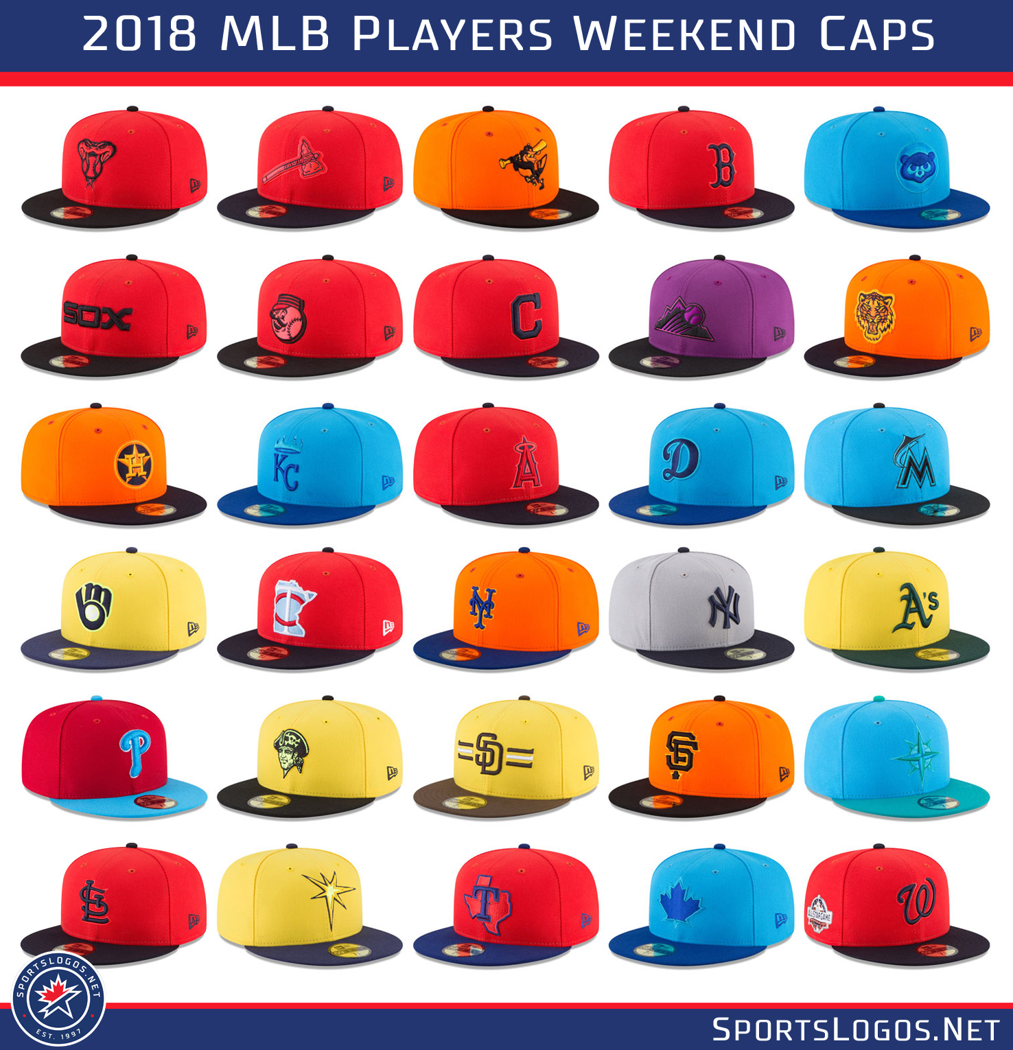 bbfdea00a 2018 MLB Players Weekend Caps All Teams