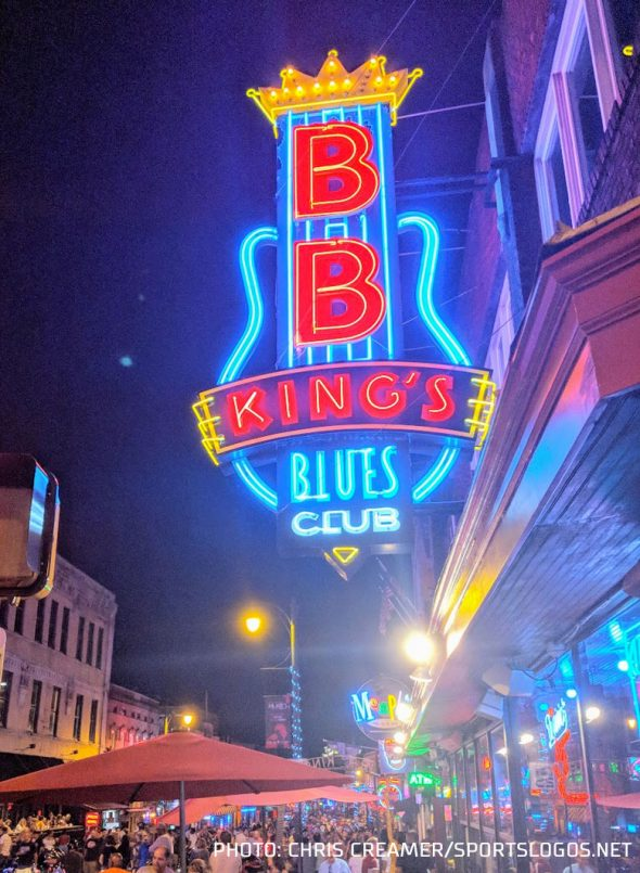 The neon lights of Beale Street inspire the inline used throughout the Grizzlies identity