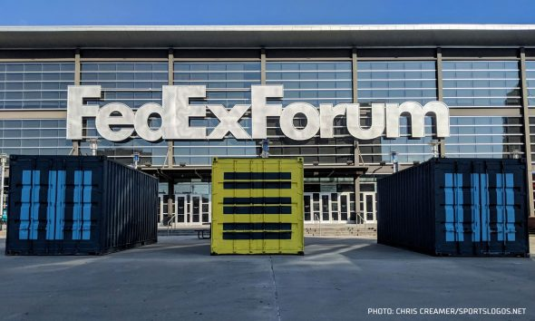 "a25e20e7093 The ""MEM"" shipping containers outside of FedExForum in Memphis"