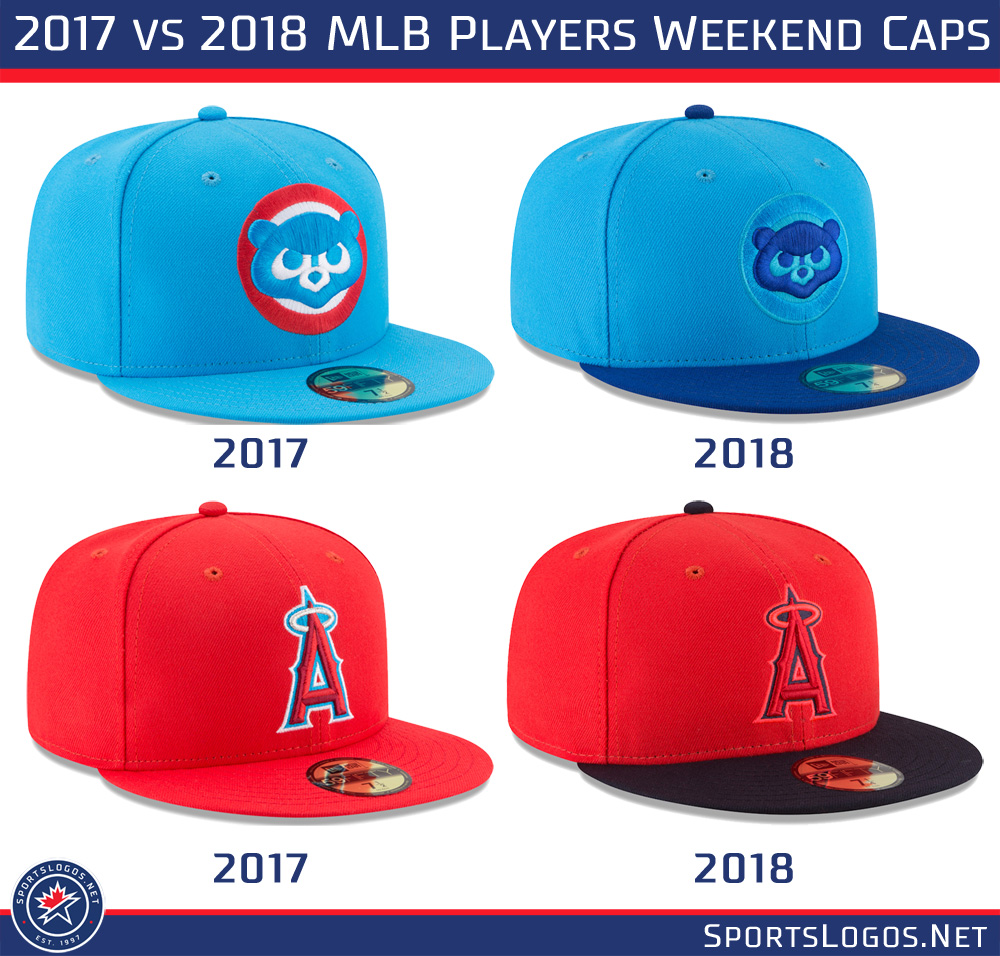 1de9f35e MLB Players Weekend Caps 2017 vs 2018 | Chris Creamer's SportsLogos ...