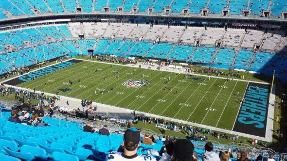Carolina Panthers home field (Via https://aviewfrommyseat.com/photo/29722/Bank+of+America+Stadium/section-538/row-12/seat-1/)