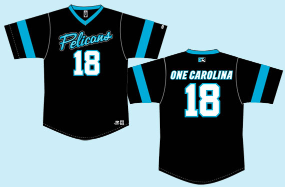 Myrtle Beach Pelicans wearing Carolina Panthers-inspired jerseys